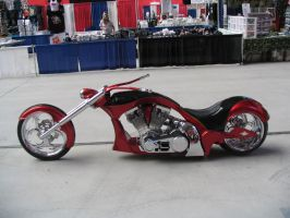Custom red and black chopper by atomicgrape