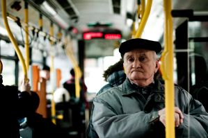 Old man in a bus by karljohansson