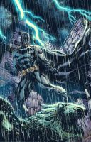 Batman on Gargoyle colored by Raymund Lee by Ace-Continuado