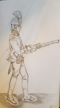 sketch of a Rev. War soldier by Tiggidou