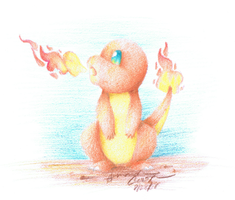 Charmander: Colored Pencil by IceCatDemon
