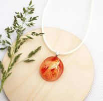 Red pendant made of glass. Oil painting. Gold fish by HappyGlassJewelryArt