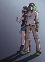 Pokemon Black and White: N and Hilda by medatelle