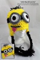 Minion inspired hat- with a little tongue by LittleShopOfLostArts