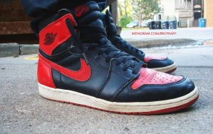 1994 Air Jordan 1 Retro Black/Red by BBoyKai91