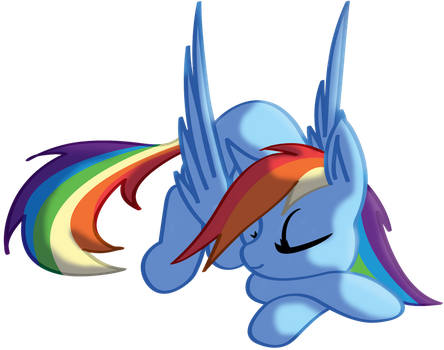 One sleeping Rainbow Dash by SilverwolvesForever