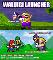 SMBHotS Mario Bros Reaction of Waluigi Launcher by KingAsylus91