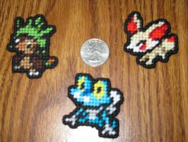 Pokemon Sprite Stitches - Kalos Starters by UWorlds