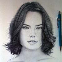 Daisy Ridley Drawing - Rey from Star Wars by LethalChris