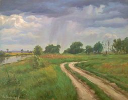 Summer rain in the fields by AnatolyPanagonovART