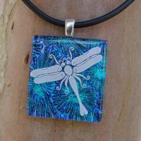 Dragonfly Burst Fused Glass by FusedElegance