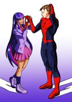 Twilight Sparkle and Spiderman by Raliuga999
