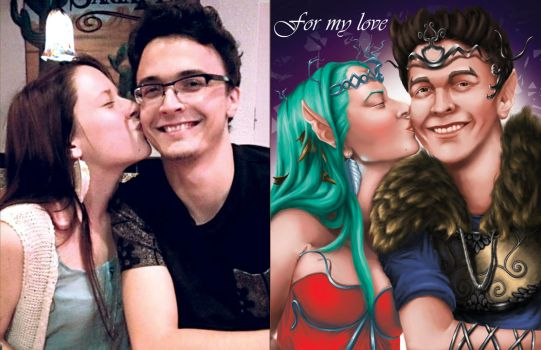 Portrait of my girlfriend and I: Comparison by Magnomic