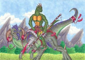 Reptile on his Mount by Psydrache