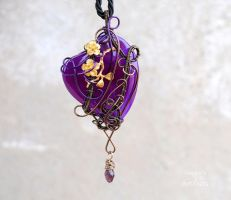 Purple Agate heart wire wrapped pendant by IanirasArtifacts