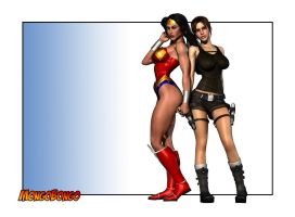 Lara Croft and Wonder Woman by MongoBongoArt