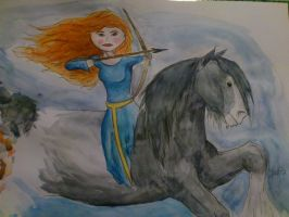Merida and Angus -- Brave - Fan Art by Mayiaaa