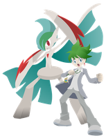 Mega Gallade and Trainer Wally - Pokemon Vector