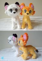 Kimba and Kitty Plushies by dolphinwing