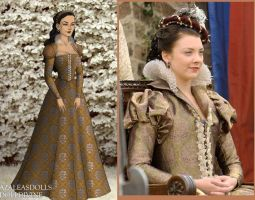 Anne Boleyn Tan Damask Gownd by msbrit90