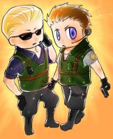 Wesker + Chris Chibby by myabu