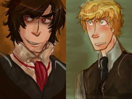 Portraits of Peter and Ashford by manonquinn
