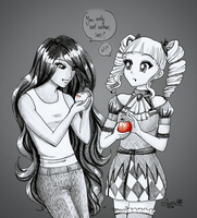 Marceline and Yurika : Vampire Lesson by Auriaslayer