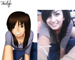 "My sister ""Real Life to Anime"" by Ferdafs"