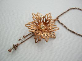 Copper Flower Necklace - Cryst by SpottedOctopus