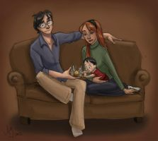 Happy Little Family (Colored) by kuabci