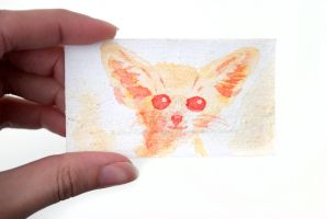 Tiny Watercolor Fennec Fox Painting by Strange-1