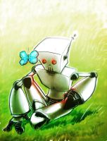 Robot and butterfly by likemoyd