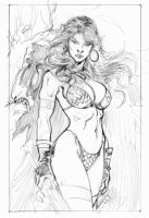 red sonja pencil by fabiomantovani