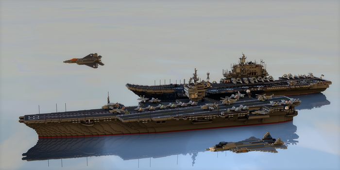 Minecraft Render: Aircraft Carriers by PH-PennySnowFlyer