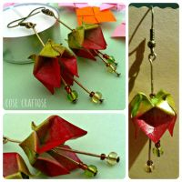Origami earrings (red) by ro78