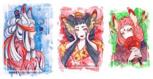 Three foxes by Kate-FoX