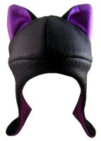 Black Purple Aviator Kitty Hat by TheBunnyCafe