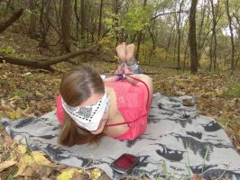 Talking on the phone while hogtied in the forest by jmnt089