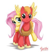 Fluttershy + Big Macintosh by mysticalpha