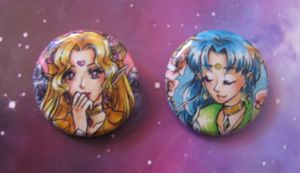Buttons: Sailor Kara and Sailor Earth by Toto-the-cat