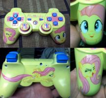 hand painted fluttershy controller by midnightfox1