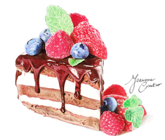 PRINT Cake with fruits by 19Frency94-Art