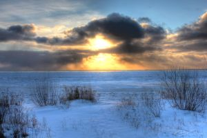 Snowy Sunset over Lake MI HDR by zeebow14