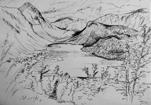 Lake and mountains by kisusie