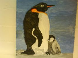 King Penguins, acrylic on canvas by ArcticIceWolf