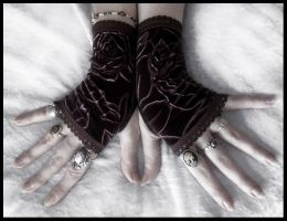 Epona Velvet Fingerless Gloves by ZenAndCoffee