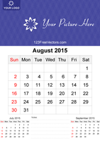 August 2015 Calendar Template Vector Free by 123freevectors