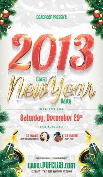 Crazy new year party flyer by deadpuf