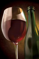 Wine Glass and Bottle by gabedesignz