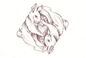 Yin Yang bunny sketch by Nevermore-Ink